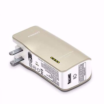 PISEN 2-in-1 Portable Charger - Battery Pack with Foldable AC Plug - 5000mAh