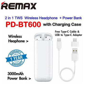 REMAX PD-BT600 2 IN 1 PRODA TWS AIR PLUS WIRELESS HEADPHONE WITH CHARGING CASE + 3000 MAH POWER BANK